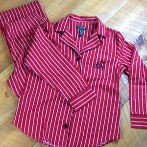 Ralph Lauren red striped pajamas. Size medium EUC